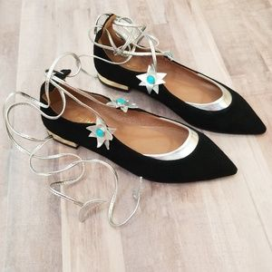 AQUAZZURA Midnight Suede Flats Size 36